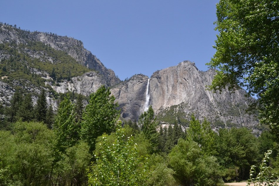 distant view of a waterfall in yosemite national park