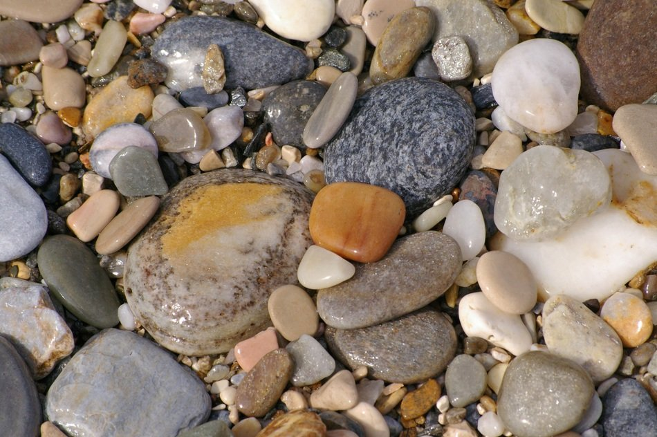 colorful pebbles on the beach