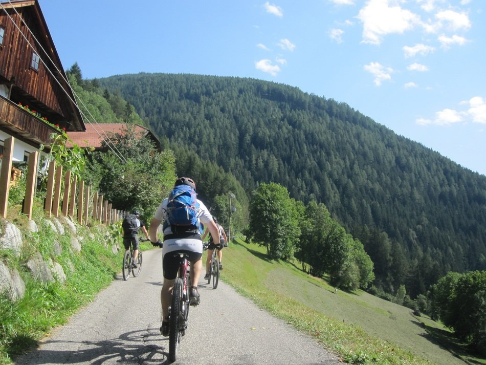 cyclists on road to green mountains, italy