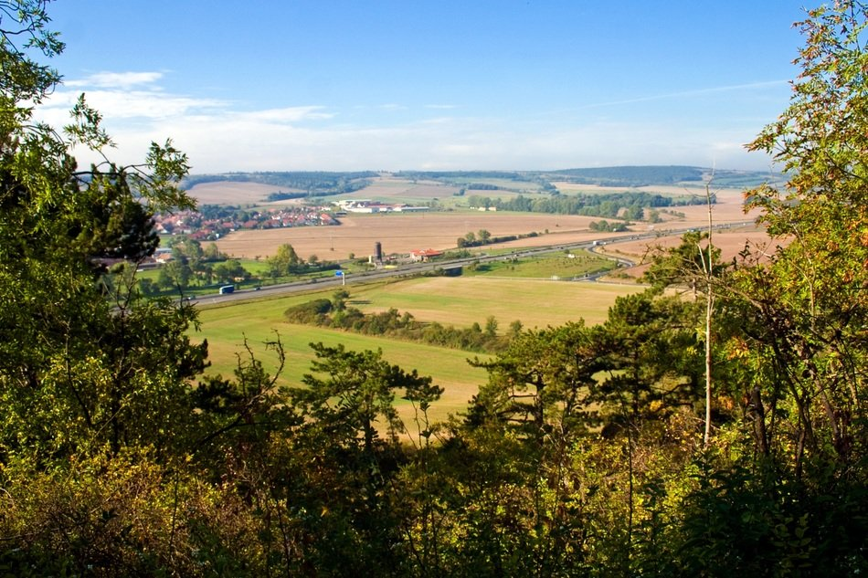Remote view of the picturesque landscape of Thuringia in Germany