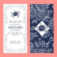 Vertical elegant wedding invitation peony Vector illustration