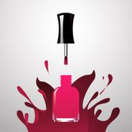 Pink Nail polish open bottle with splash paint background