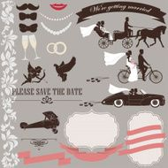 Wedding invitation elements set