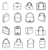 Bags line icons set