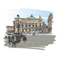 Opera Garnier Paris France Vector illustration N6