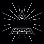 Vector linear hipster logo - magical triangle with copy space