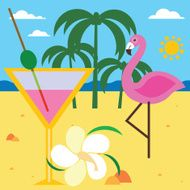 Summer still life with flamingo