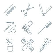 hairdresser tools dark color outline icons set