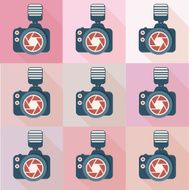 Camera flat icons design clean vector N2