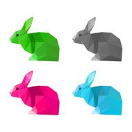 Rabbits set isolated on white Abstract bright polygonal geometric illustration