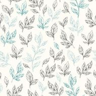 Hand drawn leaf seamless pattern Vector illustration