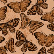 seamless background Butterflies on old dirty paper Vintage style