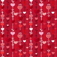 Red Pink Love Valentin's Day Seamless Pattern