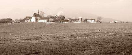 black-and-white photo of the village in Bavaria