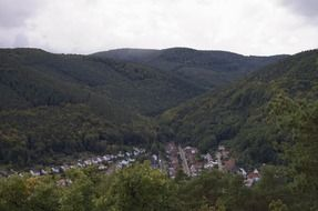 panorama of the village in the valley in the palatinate forest