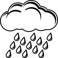 raincloud with drops vector template