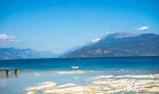 lake garda sirmione beach mountain view