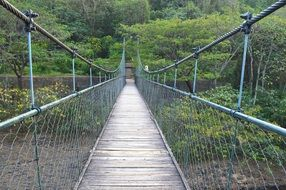 Suspended wooden bridge in the park