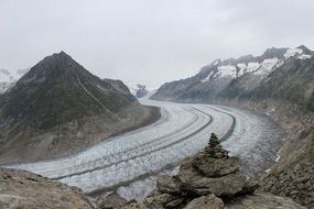 panoramic view of a glacier in switzerland