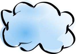 drawing of a blue cloud on a white background