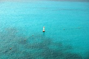top view of the buoys in the water ocean, caribbean
