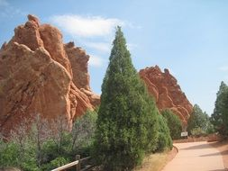 garden on a background of brown rock formations in Garden of the Gods, Colorado Springs