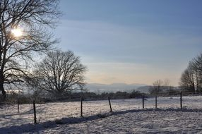 snowy mountains panorama landscape