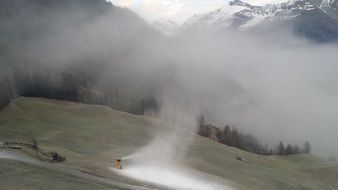 artificial snow on the mountain