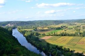 panorama of the river in the valley in dordogne, france