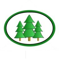 symbol with green evergreen trees