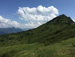 panorama of green mountains in austria