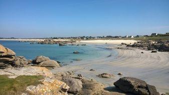 beautiful rocky beach in Brittany