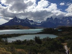lakes not far from the mountains, patagonia