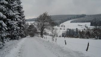 snowy winter road in germany