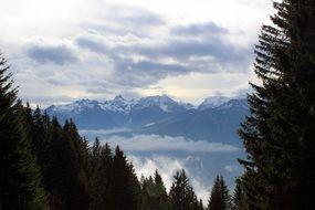 landscape of snowy mountains in Austria
