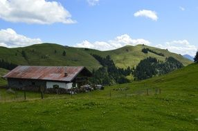 Farm house alpine mountains landscape
