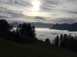 panoramic view of the valley in the thick clouds