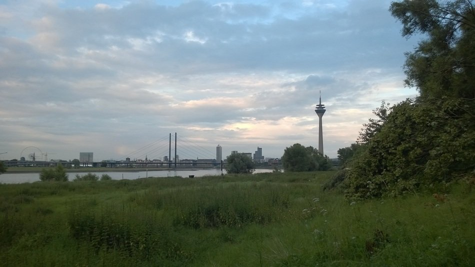 Remote view through river Rnine on düsseldorf