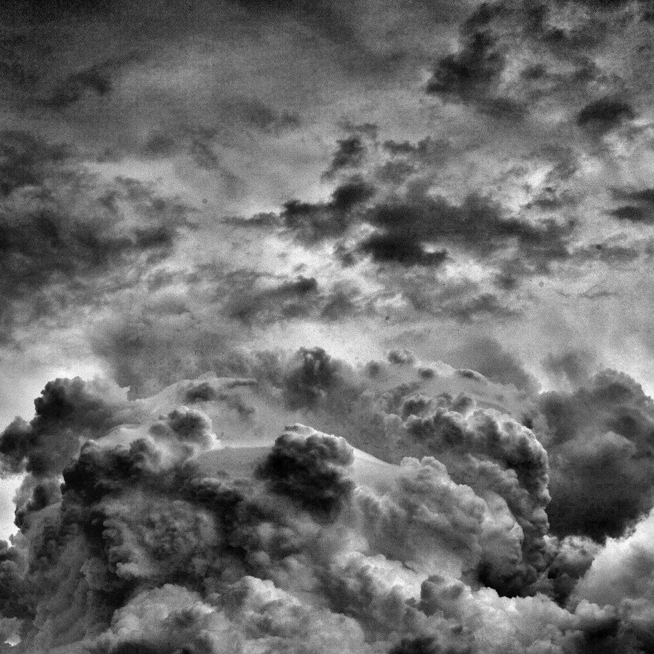 black and white photo of dark clouds