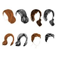 Set long and short hair natural silhouette