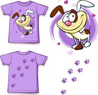 kid shirt with cute dog printed - isolated on white