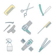 hairdresser tools color outline icons set