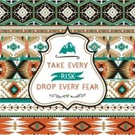 Navajo seamless colorful tribal pattern with elementes quotes on labels