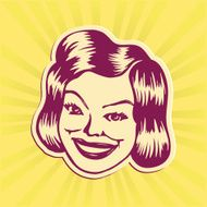 Vintage Clipart Smiling retro lady