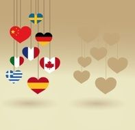 Heart shaped flags Hanging