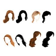 Set long hair natural and silhouette