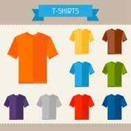 T-shirts colored templates for your design in flat style