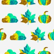 Abstract geometric autumn elements shapes seamless pattern background N2