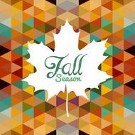 Fall season text White leaf colorful geometric background Autumn concept