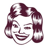 Vintage Clipart Smiling retro lady N2